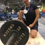 Aneela with the gold medal awarded in her age class at the Amateur World Powerlifting Congress championships last year