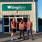 Outside The Kings Ferry Group Head Office (left to right; Ollie Taylor, James Okulaja and Carl O'Neill)