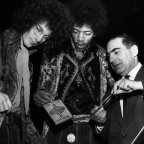 James How with Jimi Hendrix (centre) and his bassist Noel Redding