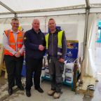 Right to left: Chris Gavin, branch manager at Ridgeons in Saffron Walden. Glenn Dunn, owner of OSC Sales. Lee Garner, competition winner
